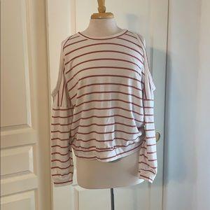White & red striped sweatshirt w shoulder cutout